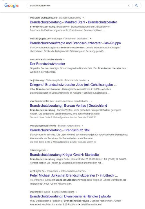 """Google-Suchergebnisliste zur Suchanfrage """"brandschutzberater"""""""