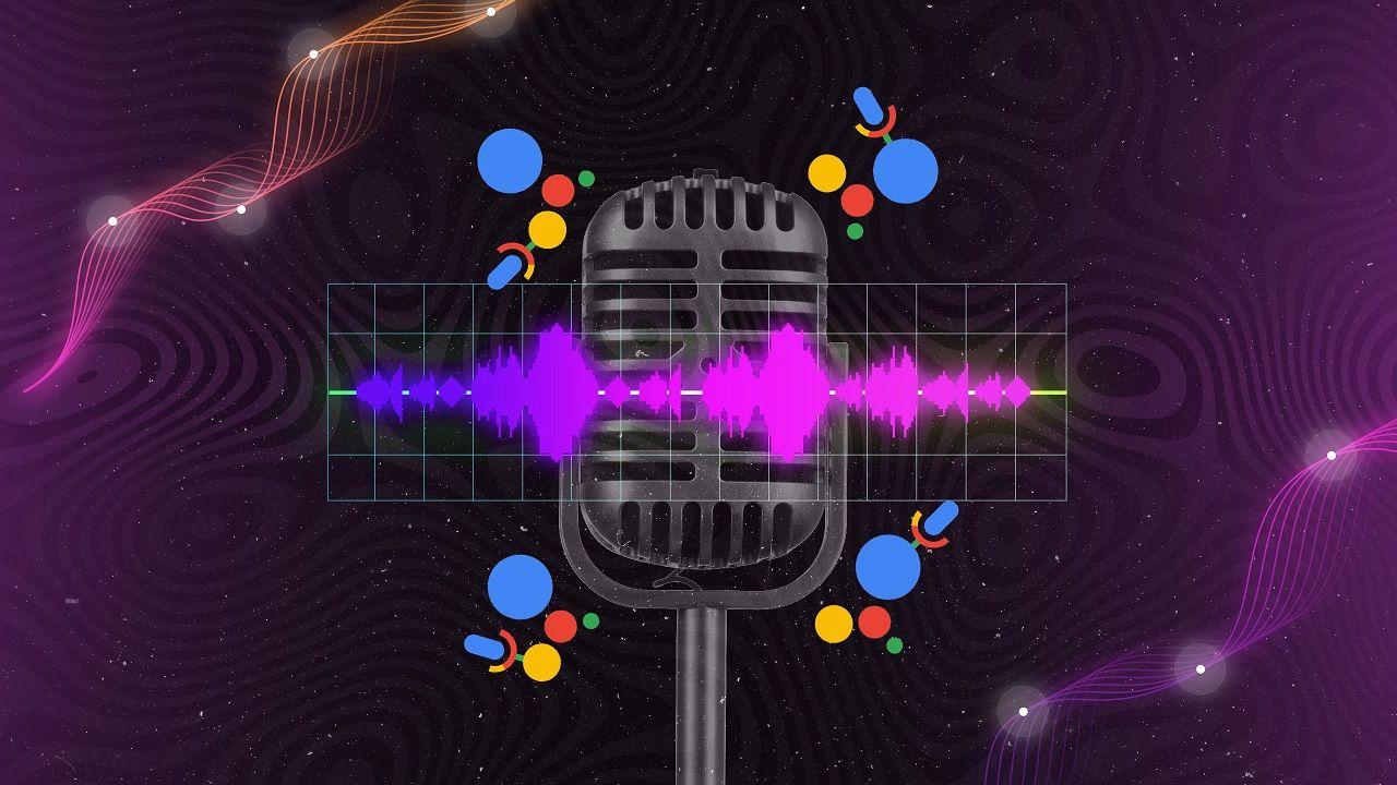 Mikro im Vordergrund; daneben verschiedene Voice-Search-Icons