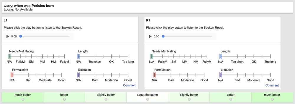 Beispiel einer Evaluierung der Evaluation of Search Speech - Guidelines 1.0 von Google