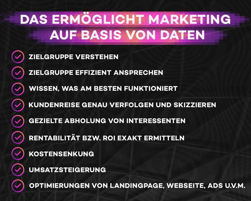 Mögliche Ziele und Vorteile von Data-driven Marketing