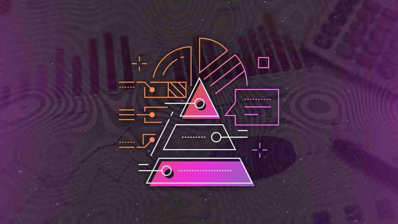 Datenpyramide vor verschiedenen Analysedokumenten