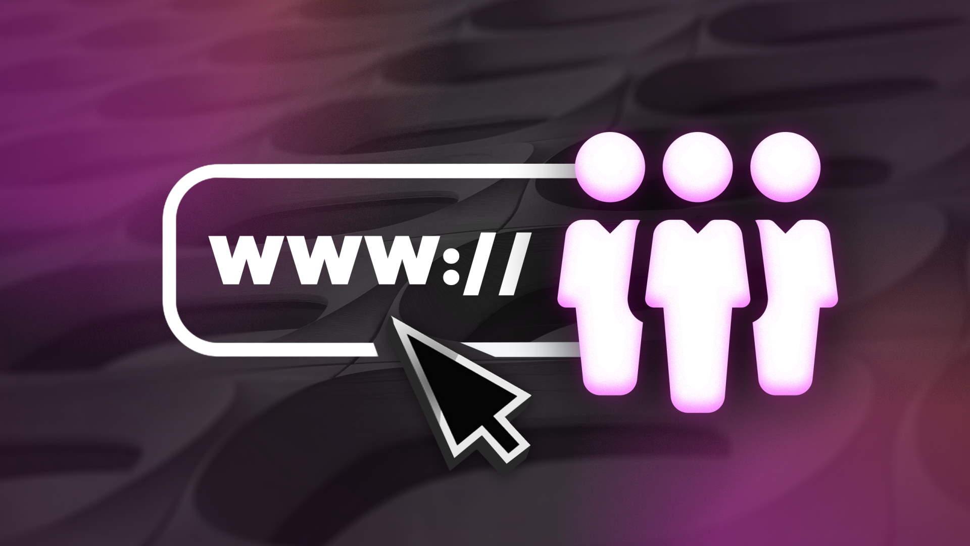 """""""www."""" vor drei Männchen; Mauszeiger deutet auf URL"""