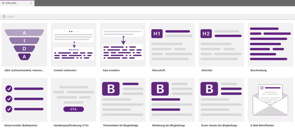 Vorlagen-Templates verschiedener Text-Typen in CopyCockpit